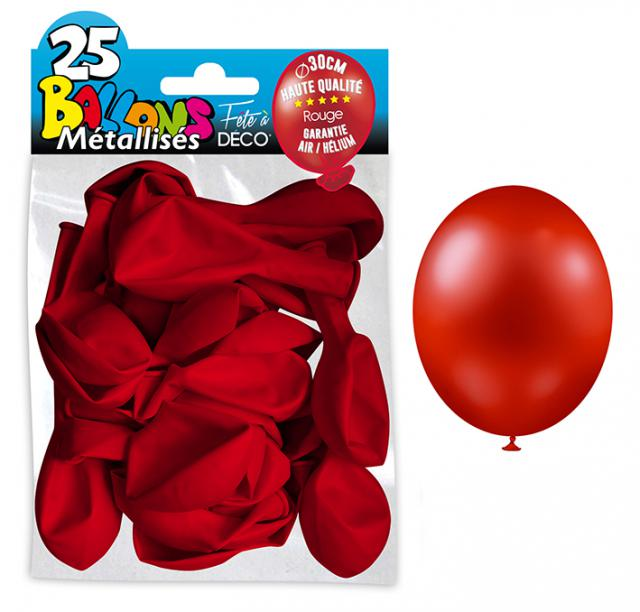 25 BALLONS METALLIQUES ROUGE