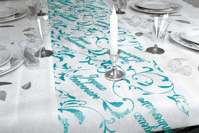 chemin de table joyeux anniversaire bleu ocean. Black Bedroom Furniture Sets. Home Design Ideas