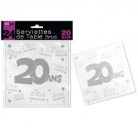 24 SERVIETTES DE TABLE 20 ANS 3 PLIS