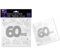 24 SERVIETTES DE TABLE 60 ANS 3 PLIS
