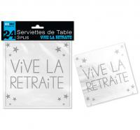 24 SERVIETTES DE TABLE VIVE LA RETRAITE 3 PLIS