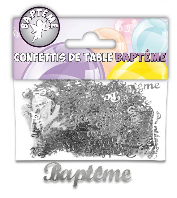 CONFETTIS DE TABLE BAPTEME ARGENT