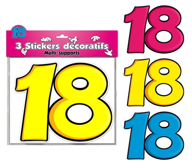 DECORATIONS STICKERS 18 ANS