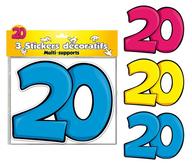 DECORATIONS STICKERS 20 ANS