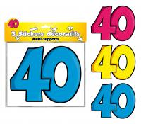 DECORATIONS STICKERS 40 ANS