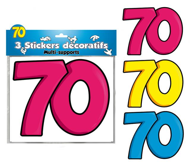 DECORATIONS STICKERS 70 ANS