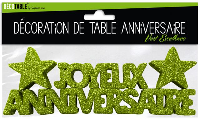 d coration de table joyeux anniversaire vert excellence accessoires de f te et d coration de. Black Bedroom Furniture Sets. Home Design Ideas