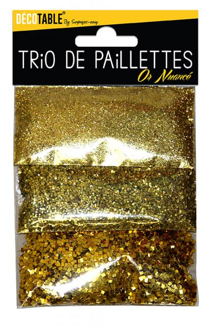 TRIO DE PAILLETTES OR NUANCE