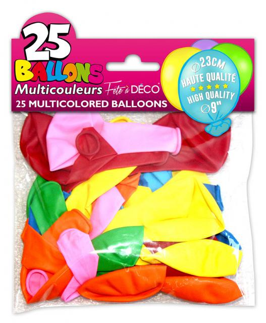25 ballons couleurs assorties