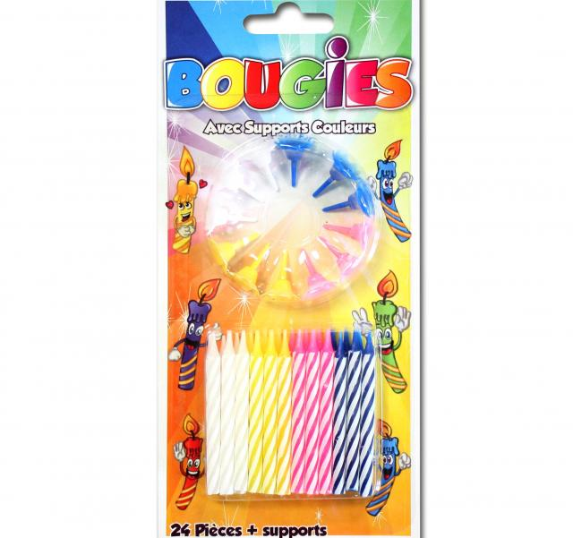 24 bougies avec supports couleurs assorties
