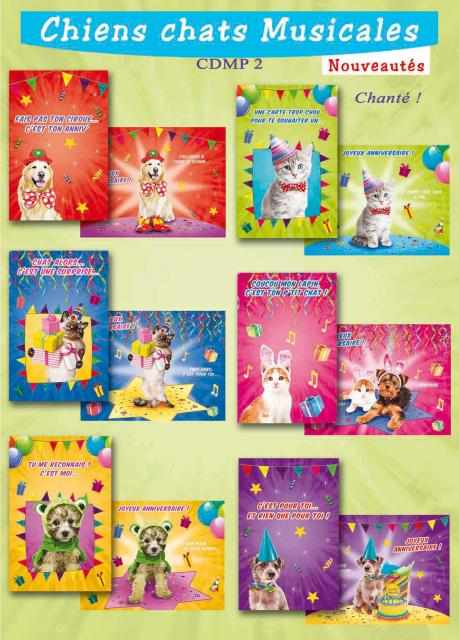 Carte chien et chat Star Musical