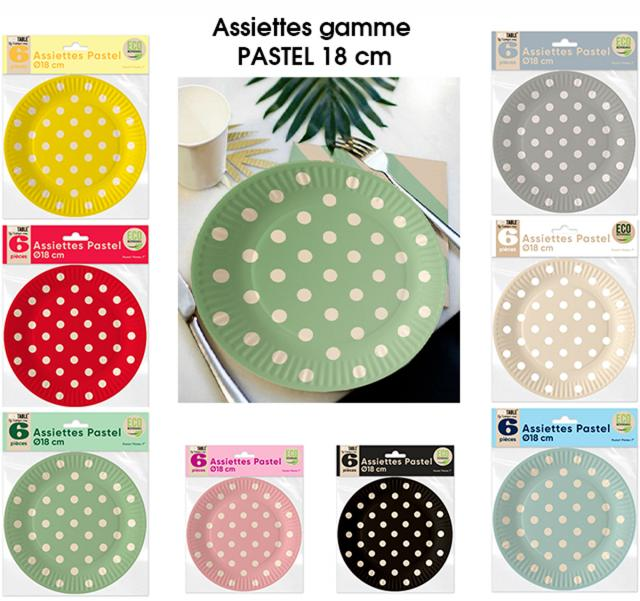 #DISPONIBLE LE 4 MARS# Assiettes x6 Pastel 18 cm ECO RESPONSABLE